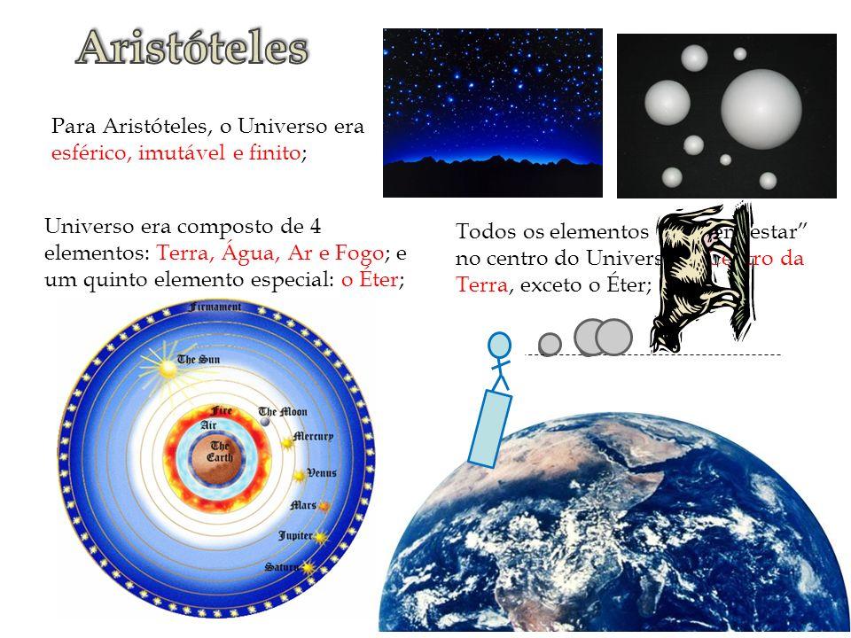 Para Aristóteles, o Universo era esférico, imutável e finito; Universo era composto de 4 elementos: Terra, Água, Ar e Fogo; e um quinto elemento espec
