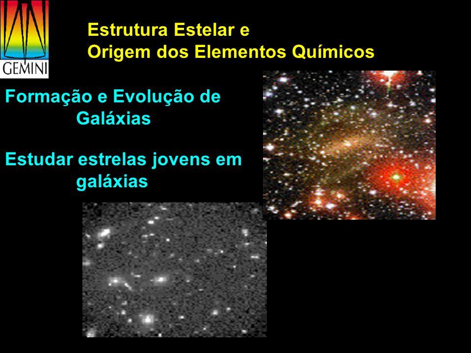 Estrutura Estelar e Origem dos Elementos Químicos Formação e Evolução de Galáxias Estudar estrelas jovens em galáxias