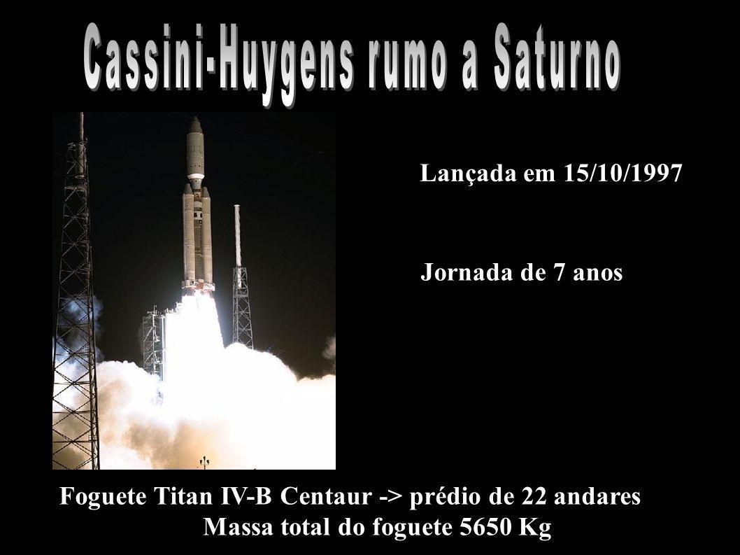 Lançada em 15/10/1997 Foguete Titan IV-B Centaur -> prédio de 22 andares Massa total do foguete 5650 Kg Jornada de 7 anos