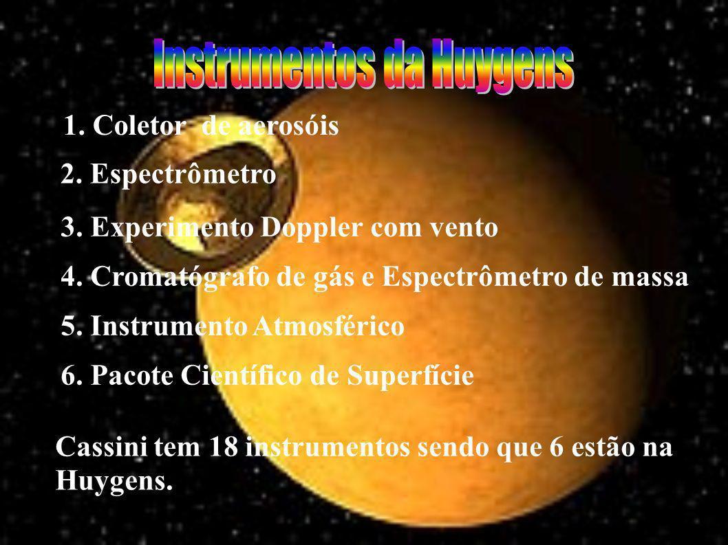 Cassini tem 18 instrumentos sendo que 6 estão na Huygens.
