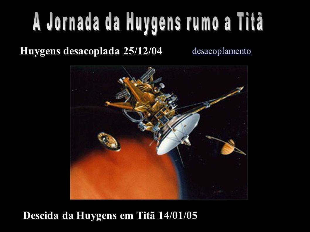 Huygens desacoplada 25/12/04 Descida da Huygens em Titã 14/01/05 desacoplamento