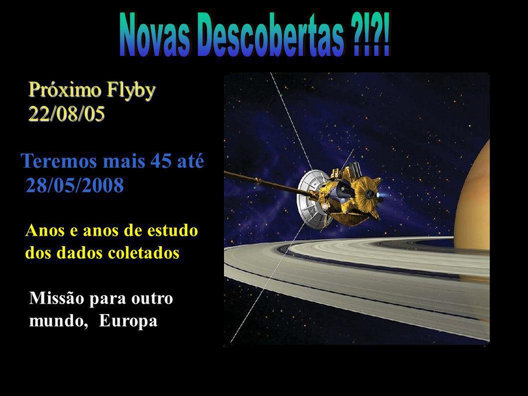 Próximo Flyby 22/08/05 Missão para outro mundo, Europa Teremos mais 45 até 28/05/2008 Anos e anos de estudo dos dados coletados