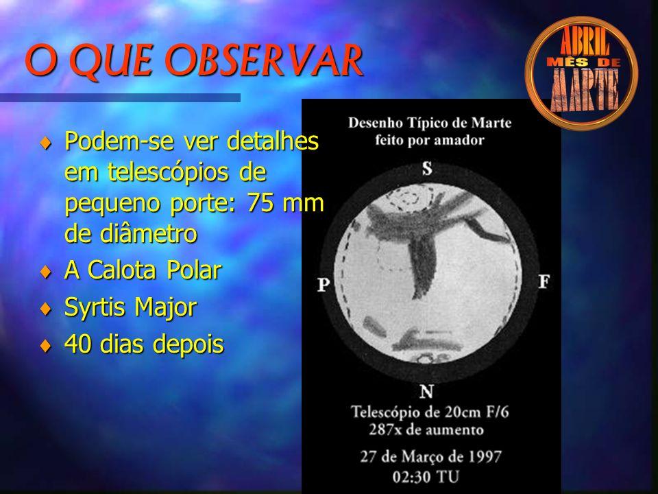 O QUE OBSERVAR © Podem-se ver detalhes em telescópios de pequeno porte: 75 mm de diâmetro © A Calota Polar © Syrtis Major © 40 dias depois