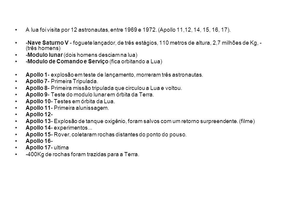 A lua foi visita por 12 astronautas, entre 1969 e 1972. (Apollo 11,12, 14, 15, 16, 17). -Nave Saturno V - foguete lançador, de três estágios, 110 metr