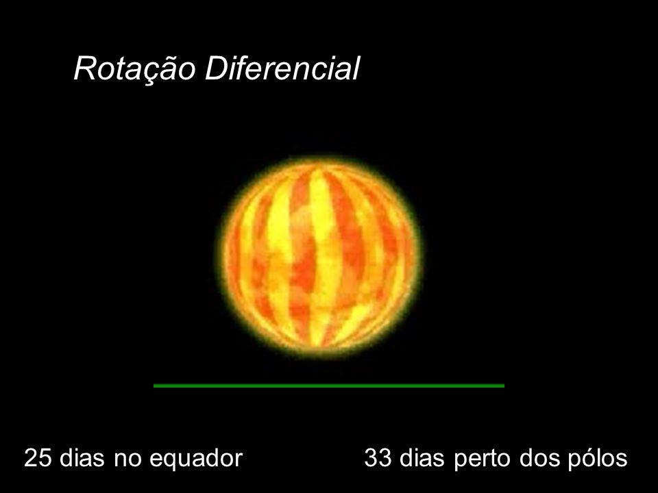 Rotação Diferencial 25 dias no equador33 dias perto dos pólos