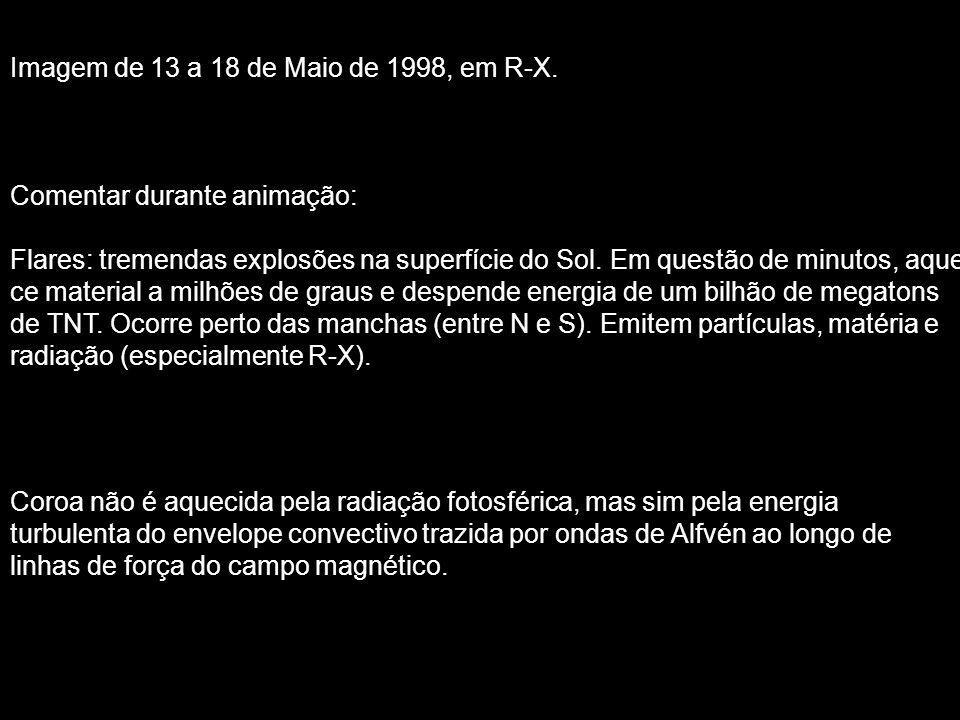 Imagem de 13 a 18 de Maio de 1998, em R-X. Comentar durante animação: Flares: tremendas explosões na superfície do Sol. Em questão de minutos, aque- c