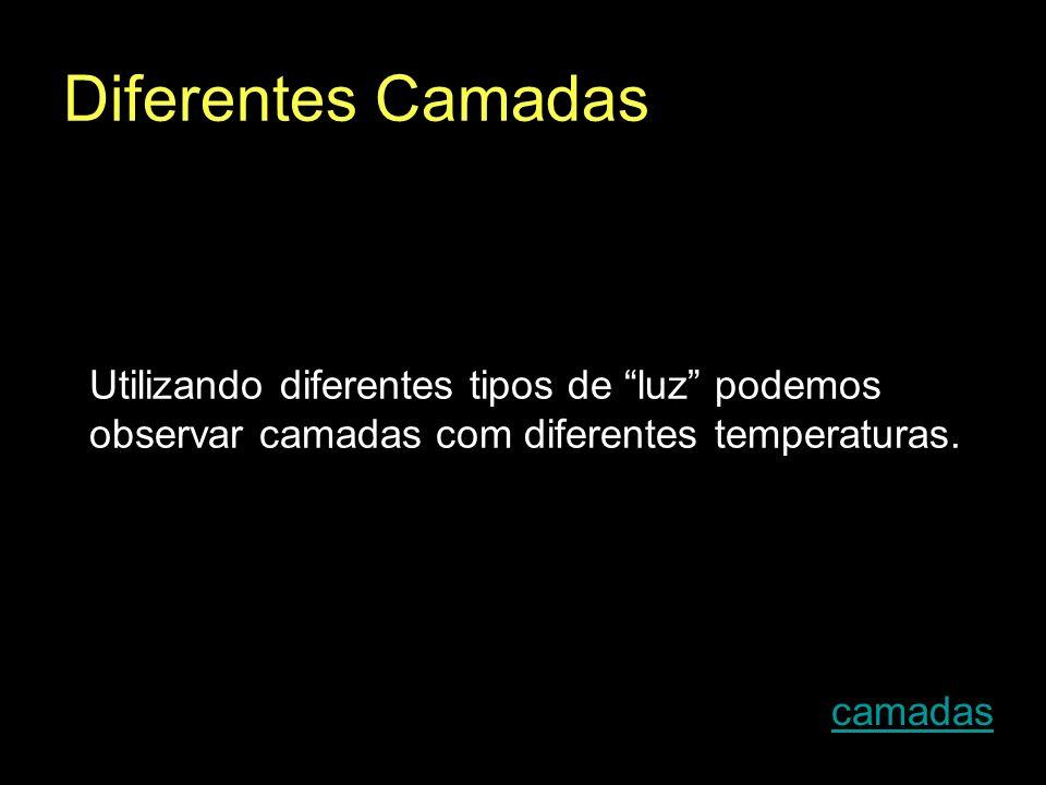 Diferentes Camadas Utilizando diferentes tipos de luz podemos observar camadas com diferentes temperaturas. camadas