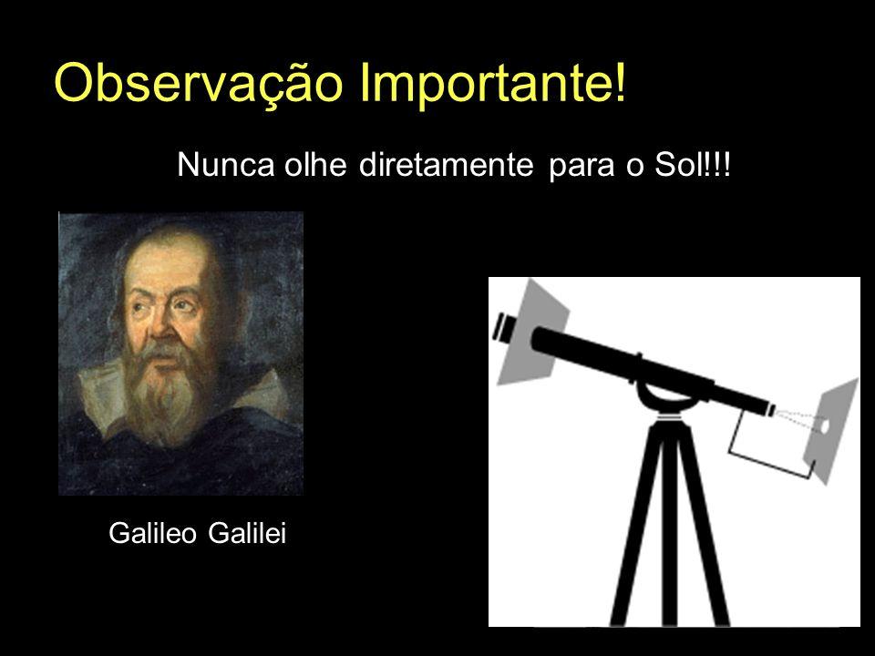 Observação Importante! Nunca olhe diretamente para o Sol!!! Galileo Galilei