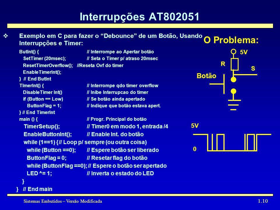 Sistemas Embutidos – Versão Modificada 1.10 Interrupções AT802051 Exemplo em C para fazer o Debounce de um Botão, Usando Interrupções e Timer: ButInt(