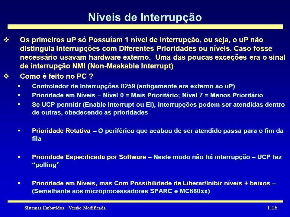 Sistemas Embutidos – Versão Modificada 1.16 Níveis de Interrupção Os primeiros uP só Possuíam 1 nível de Interrupção, ou seja, o uP não distinguia int