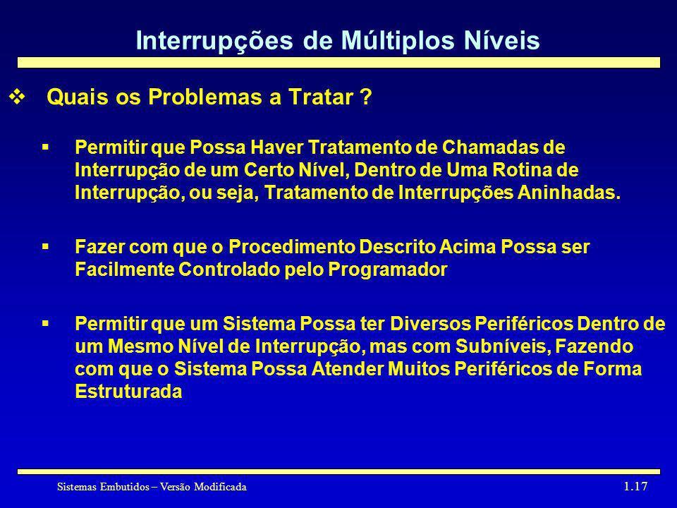 Sistemas Embutidos – Versão Modificada 1.17 Interrupções de Múltiplos Níveis Quais os Problemas a Tratar ? Permitir que Possa Haver Tratamento de Cham