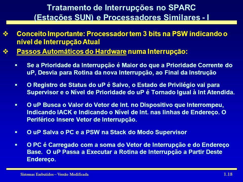 Sistemas Embutidos – Versão Modificada 1.18 Tratamento de Interrupções no SPARC (Estações SUN) e Processadores Similares - I Conceito Importante: Proc