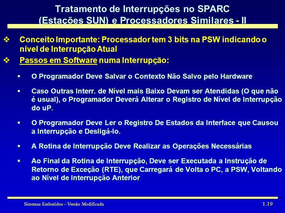 Sistemas Embutidos – Versão Modificada 1.19 Tratamento de Interrupções no SPARC (Estações SUN) e Processadores Similares - II Conceito Importante: Pro