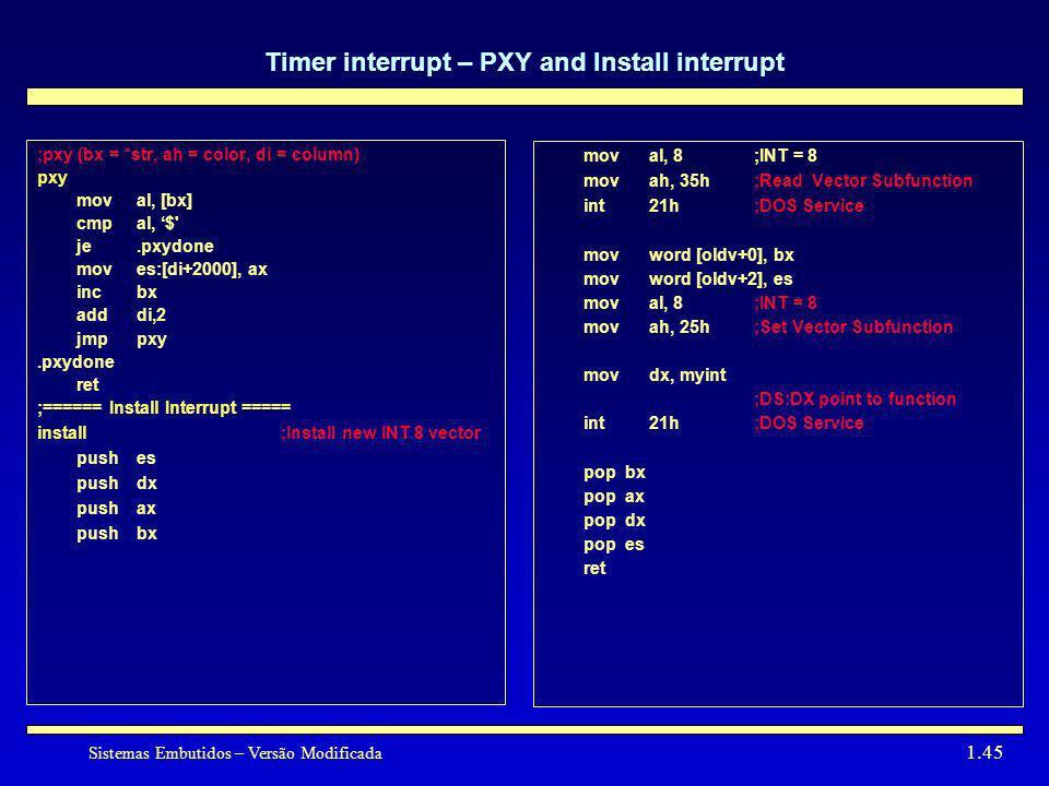 Sistemas Embutidos – Versão Modificada 1.45 Timer interrupt – PXY and Install interrupt ;pxy (bx = *str, ah = color, di = column) pxy moval, [bx] cmpa