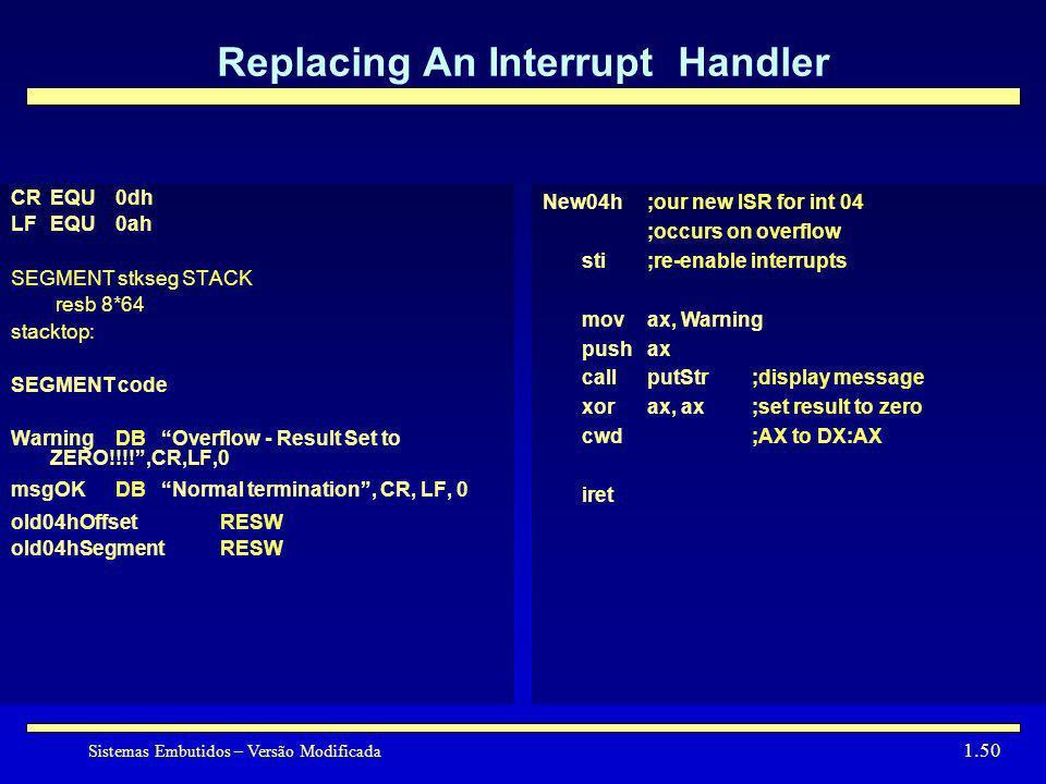 Sistemas Embutidos – Versão Modificada 1.50 Replacing An Interrupt Handler CREQU0dh LFEQU0ah SEGMENT stkseg STACK resb 8*64 stacktop: SEGMENT code War
