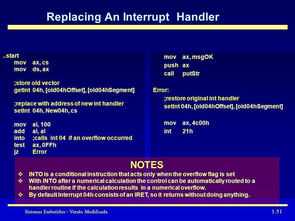 Sistemas Embutidos – Versão Modificada 1.51 Replacing An Interrupt Handler mov ax, msgOK pushax callputStr Error: ;restore original int handler setInt