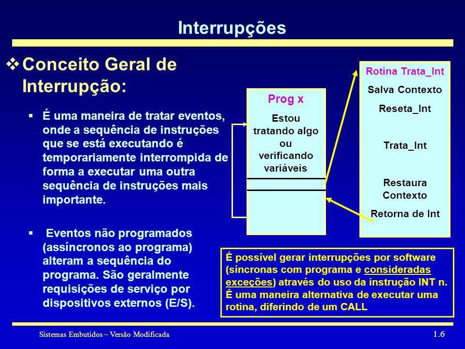 Sistemas Embutidos – Versão Modificada 1.6 Interrupções Conceito Geral de Interrupção: É uma maneira de tratar eventos, onde a sequência de instruções