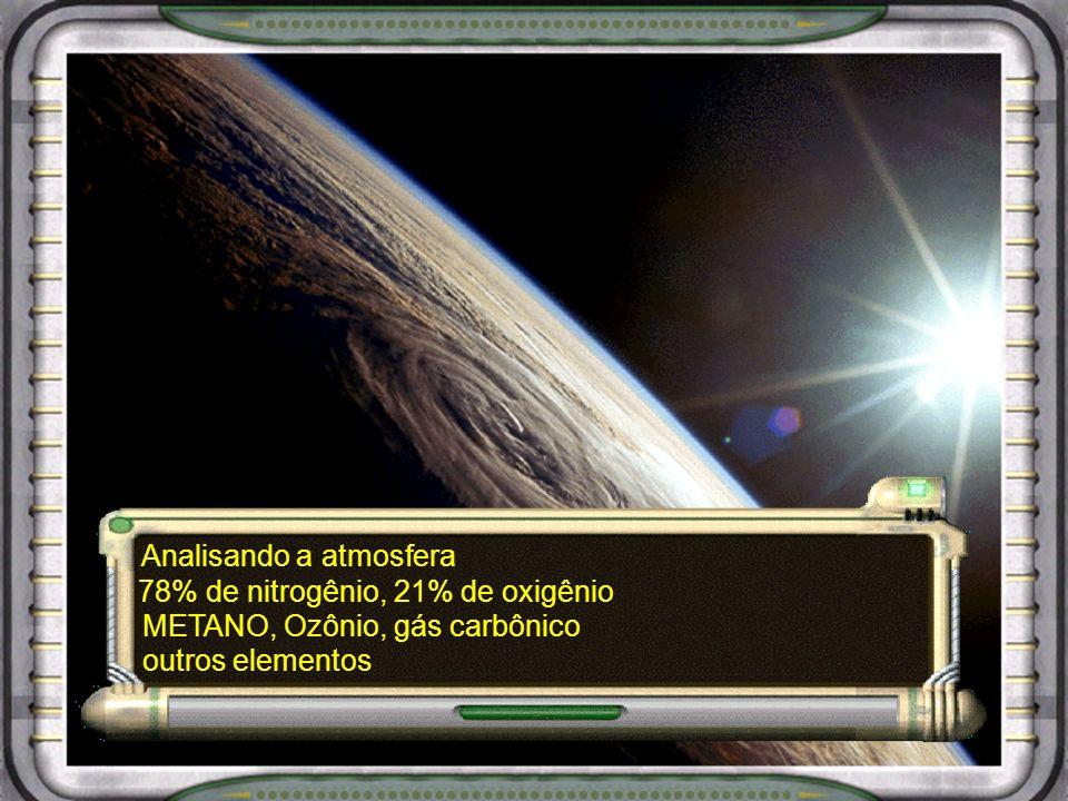 Analisando a atmosfera 78% de nitrogênio, 21% de oxigênio METANO, Ozônio, gás carbônico outros elementos