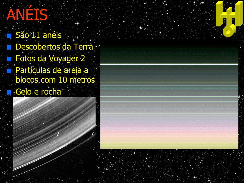 ANÉIS n São 11 anéis n Descobertos da Terra n Fotos da Voyager 2 n Partículas de areia a blocos com 10 metros n Gelo e rocha
