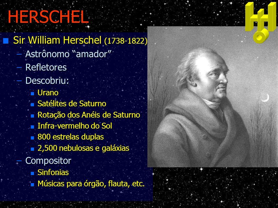 HERSCHEL n Sir William Herschel (1738-1822) –Astrônomo amador –Refletores –Descobriu: n Urano n Satélites de Saturno n Rotação dos Anéis de Saturno n