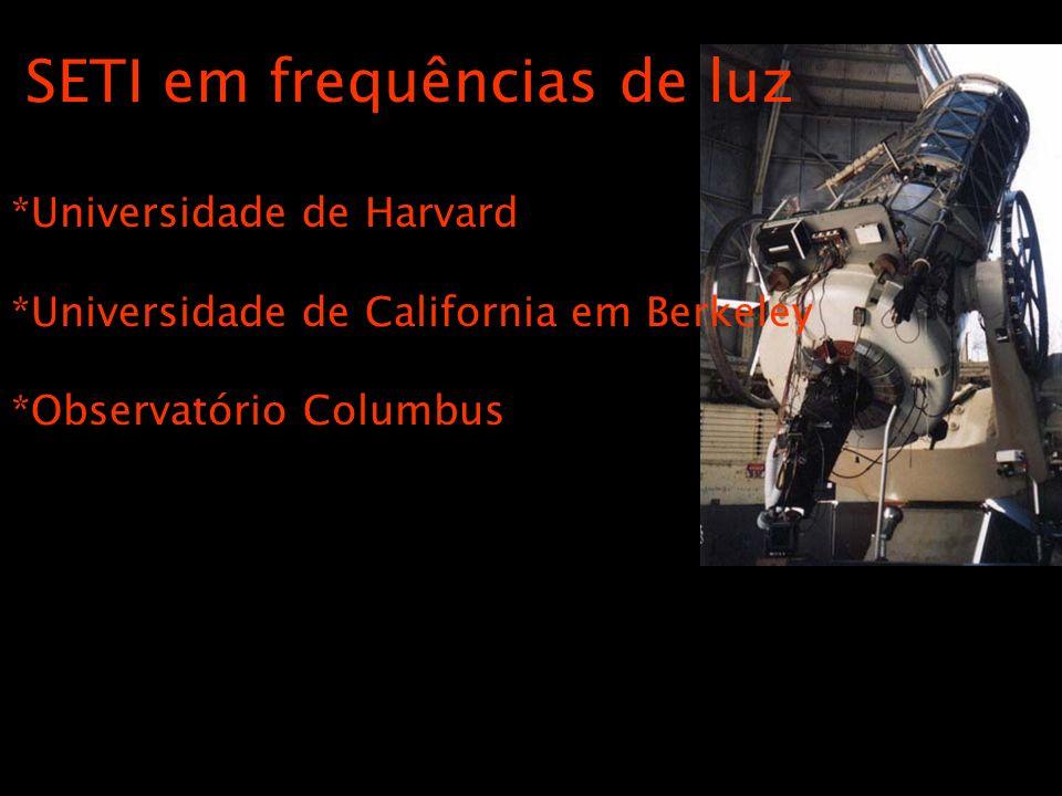 SETI em frequências de luz *Universidade de Harvard *Universidade de California em Berkeley *Observatório Columbus