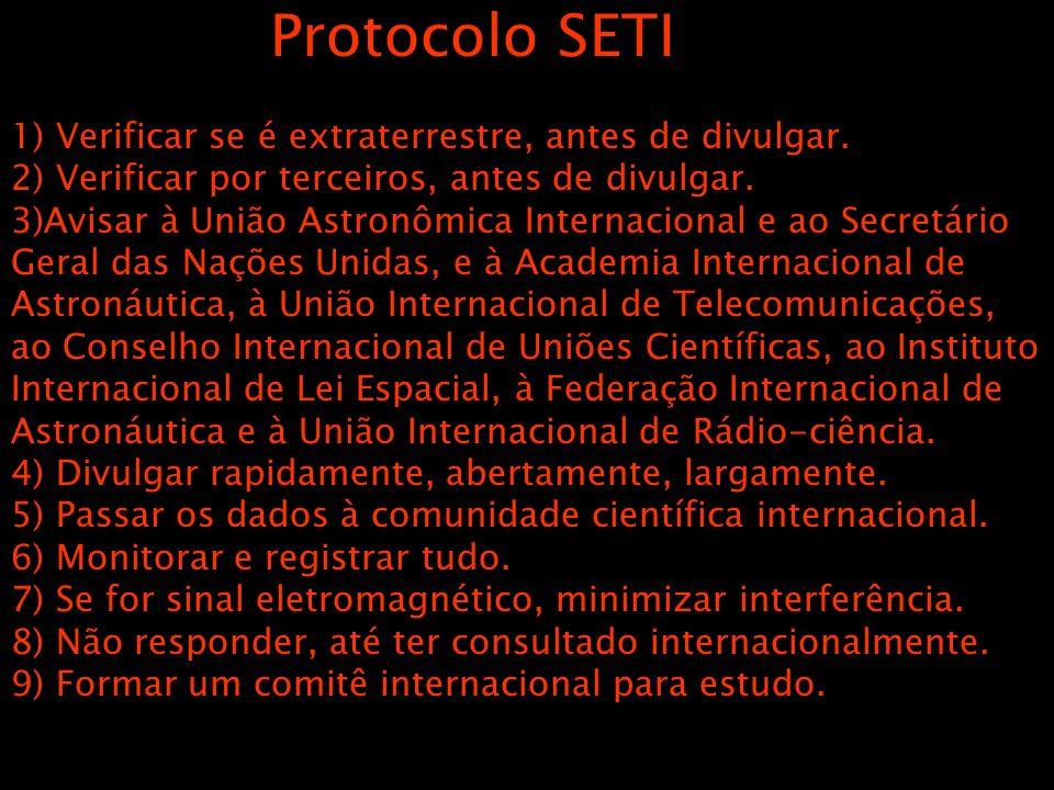 Protocolo SETI 1) Verificar se é extraterrestre, antes de divulgar. 2) Verificar por terceiros, antes de divulgar. 3)Avisar à União Astronômica Intern