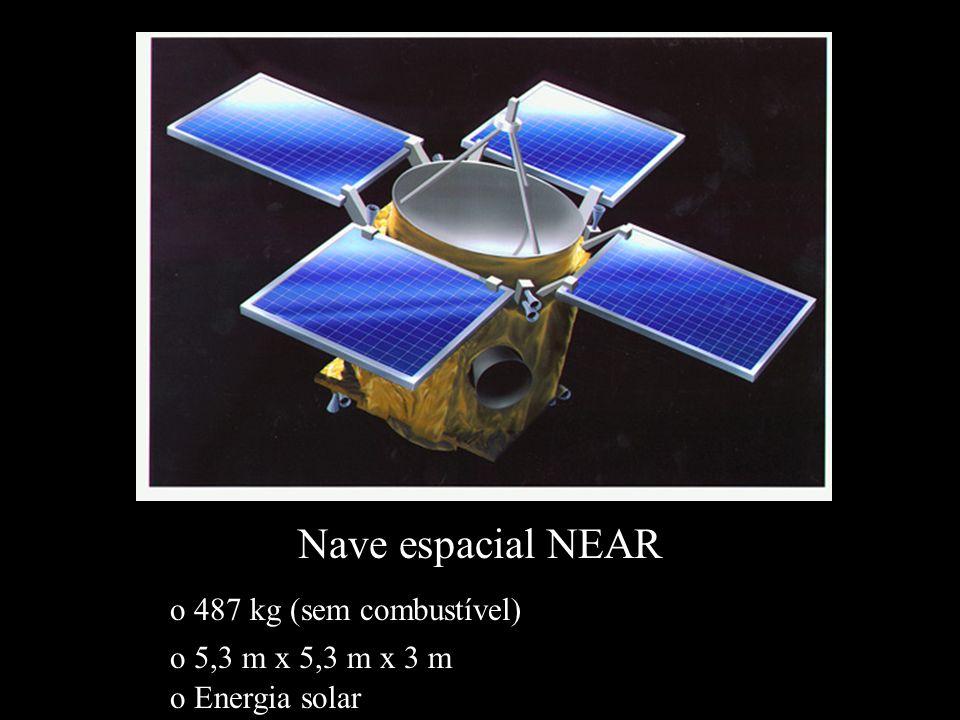 Nave espacial NEAR o 487 kg (sem combustível) o Energia solar o 5,3 m x 5,3 m x 3 m