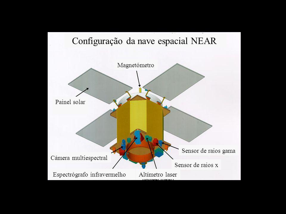 Configuração da nave espacial NEAR Magnetómetro Sensor de raios gama Sensor de raios x Altímetro laserEspectrógrafo infravermelho Cámera multiespectral Painel solar