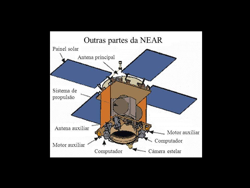 Outras partes da NEAR Antena principal Motor auxiliar Computador Cámera estelarComputador Motor auxiliar Antena auxiliar Sistema de propulsão Painel solar