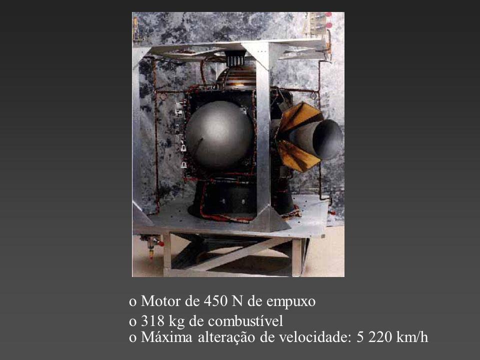 o 318 kg de combustível o Motor de 450 N de empuxo o Máxima alteração de velocidade: 5 220 km/h