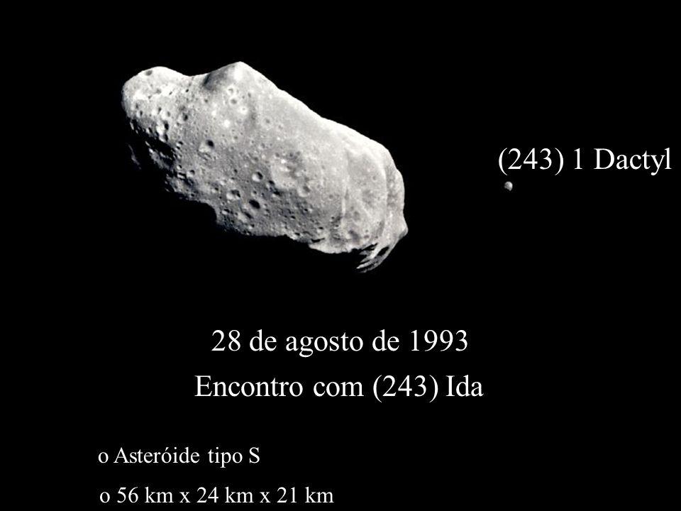28 de agosto de 1993 Encontro com (243) Ida o Asteróide tipo S o 56 km x 24 km x 21 km (243) 1 Dactyl