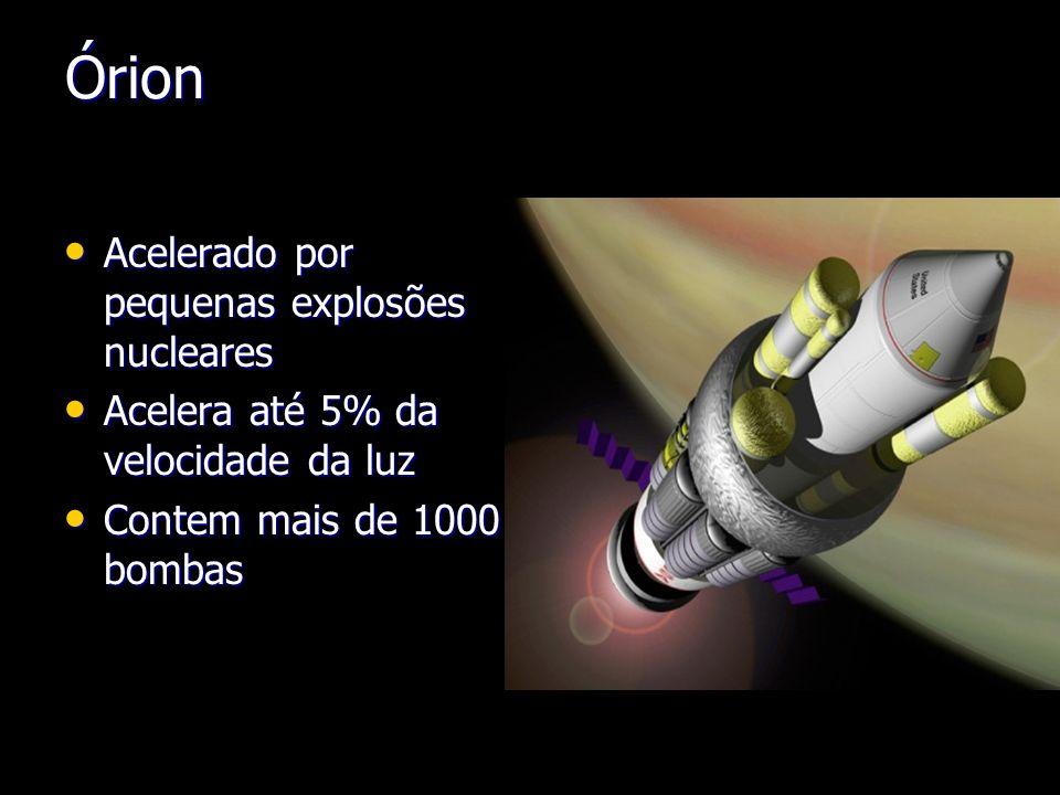 Órion Acelerado por pequenas explosões nucleares Acelerado por pequenas explosões nucleares Acelera até 5% da velocidade da luz Acelera até 5% da velo