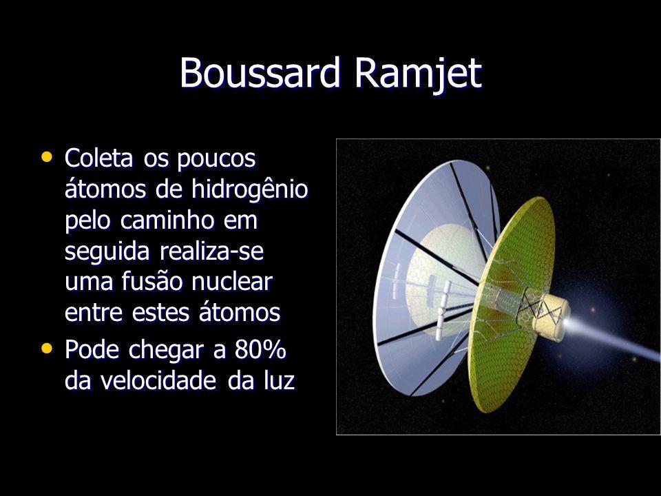 Boussard Ramjet Coleta os poucos átomos de hidrogênio pelo caminho em seguida realiza-se uma fusão nuclear entre estes átomos Coleta os poucos átomos