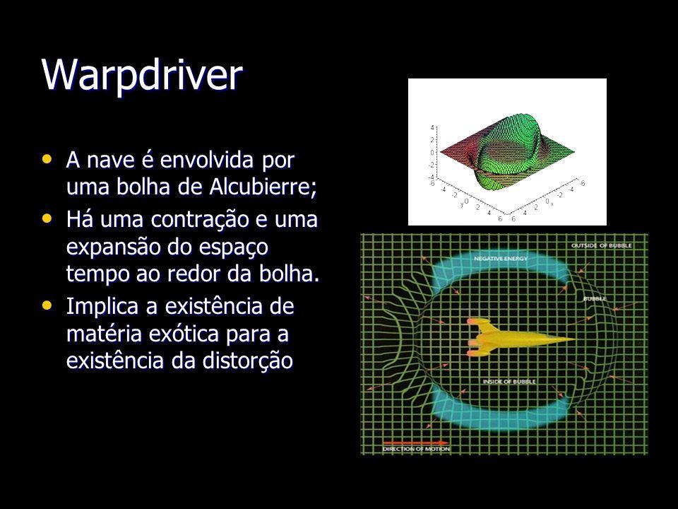Warpdriver A nave é envolvida por uma bolha de Alcubierre; A nave é envolvida por uma bolha de Alcubierre; Há uma contração e uma expansão do espaço t