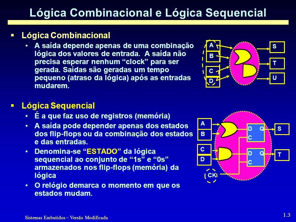 Sistemas Embutidos – Versão Modificada 1.3 Lógica Combinacional e Lógica Sequencial Lógica Combinacional A saída depende apenas de uma combinação lógica dos valores de entrada.