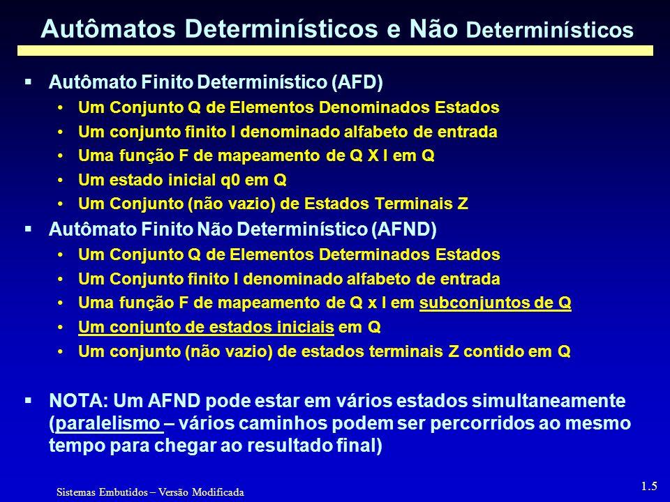Sistemas Embutidos – Versão Modificada 1.5 Autômatos Determinísticos e Não Determinísticos Autômato Finito Determinístico (AFD) Um Conjunto Q de Elementos Denominados Estados Um conjunto finito I denominado alfabeto de entrada Uma função F de mapeamento de Q X I em Q Um estado inicial q0 em Q Um Conjunto (não vazio) de Estados Terminais Z Autômato Finito Não Determinístico (AFND) Um Conjunto Q de Elementos Determinados Estados Um Conjunto finito I denominado alfabeto de entrada Uma função F de mapeamento de Q x I em subconjuntos de Q Um conjunto de estados iniciais em Q Um conjunto (não vazio) de estados terminais Z contido em Q NOTA: Um AFND pode estar em vários estados simultaneamente (paralelismo – vários caminhos podem ser percorridos ao mesmo tempo para chegar ao resultado final)