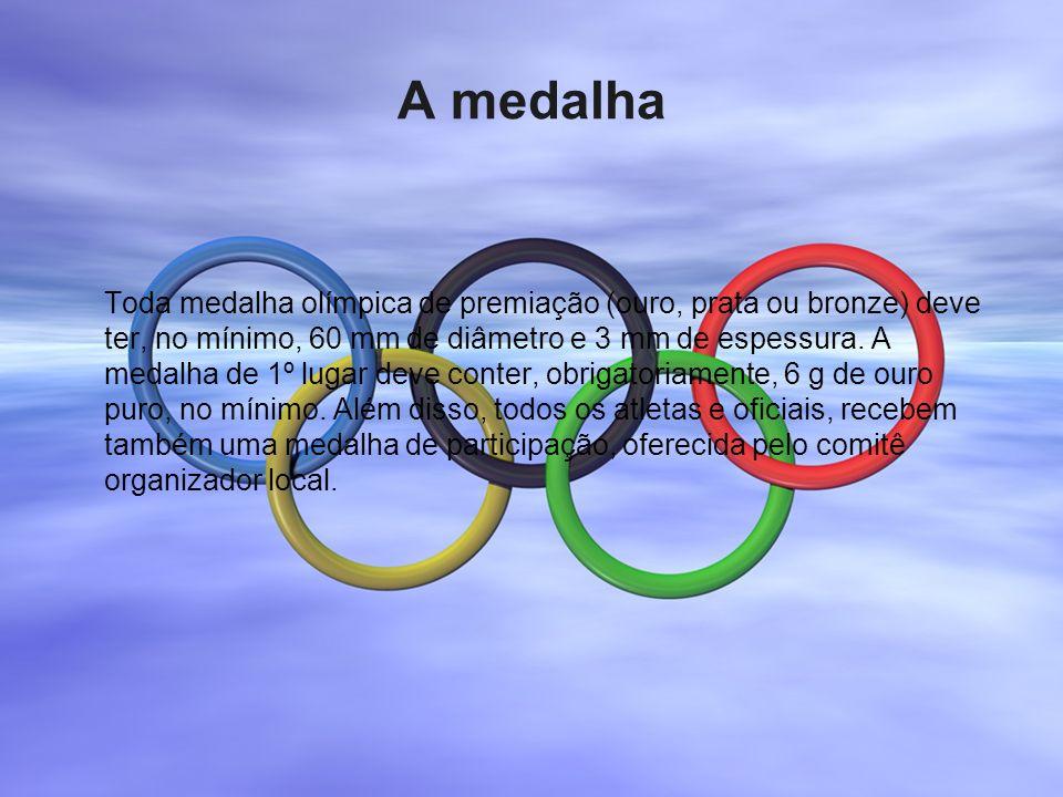 A medalha Toda medalha olímpica de premiação (ouro, prata ou bronze) deve ter, no mínimo, 60 mm de diâmetro e 3 mm de espessura. A medalha de 1º lugar