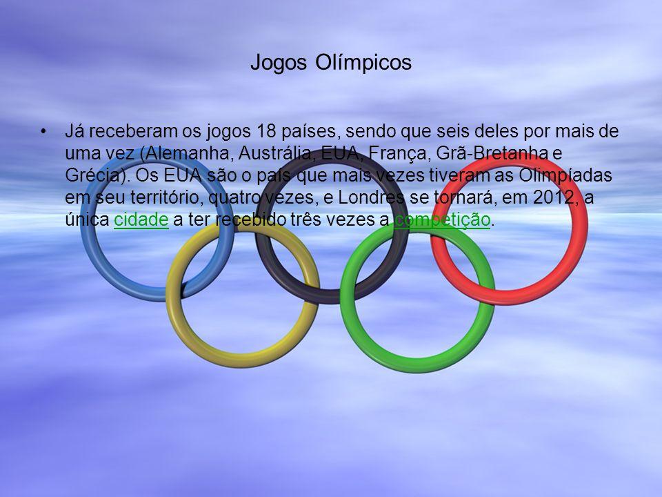 Jogos Olímpicos Já receberam os jogos 18 países, sendo que seis deles por mais de uma vez (Alemanha, Austrália, EUA, França, Grã-Bretanha e Grécia). O