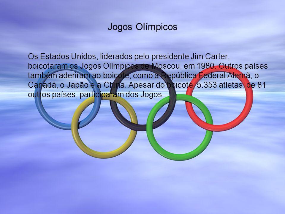 Jogos Olímpicos Os Estados Unidos, liderados pelo presidente Jim Carter, boicotaram os Jogos Olímpicos de Moscou, em 1980. Outros países também aderir
