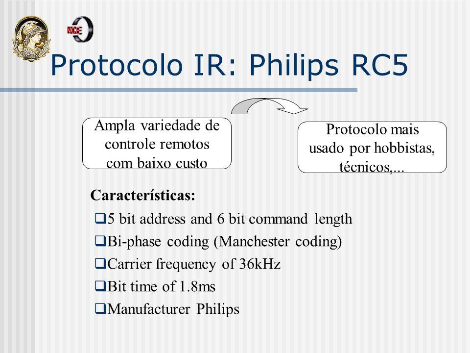 Protocolo IR: Philips RC5 Ampla variedade de controle remotos com baixo custo Protocolo mais usado por hobbistas, técnicos,... Características: 5 bit