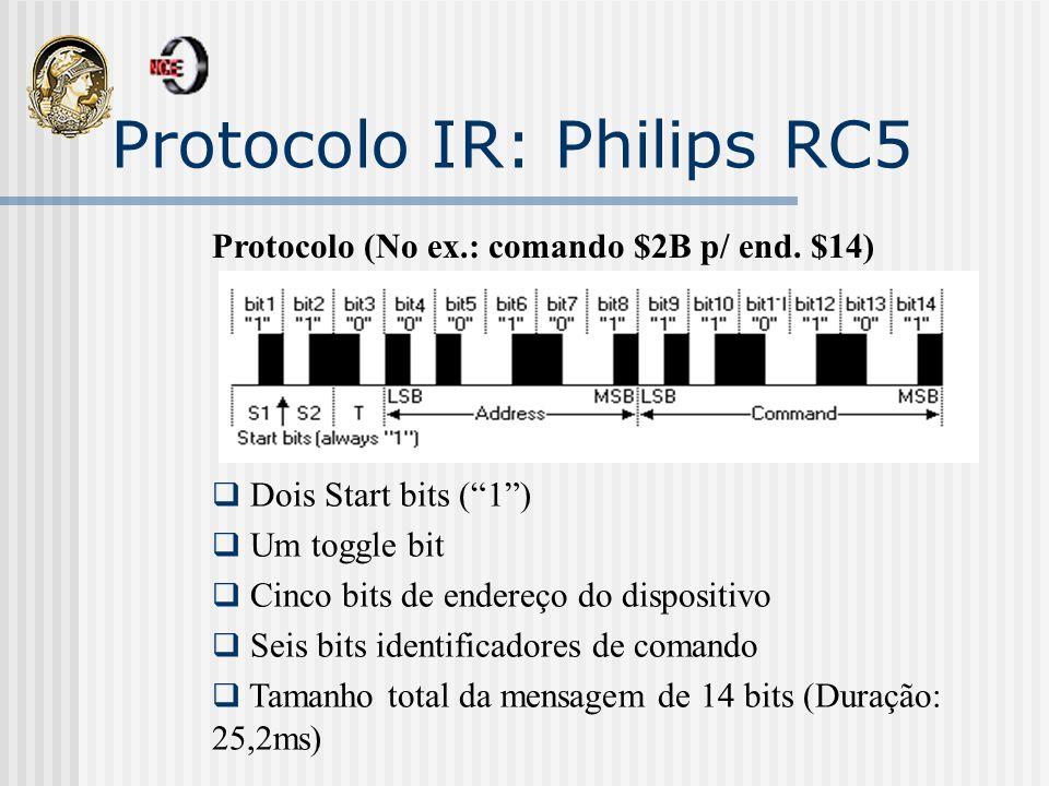Protocolo IR: Philips RC5 Protocolo (No ex.: comando $2B p/ end. $14) Dois Start bits (1) Um toggle bit Cinco bits de endereço do dispositivo Seis bit