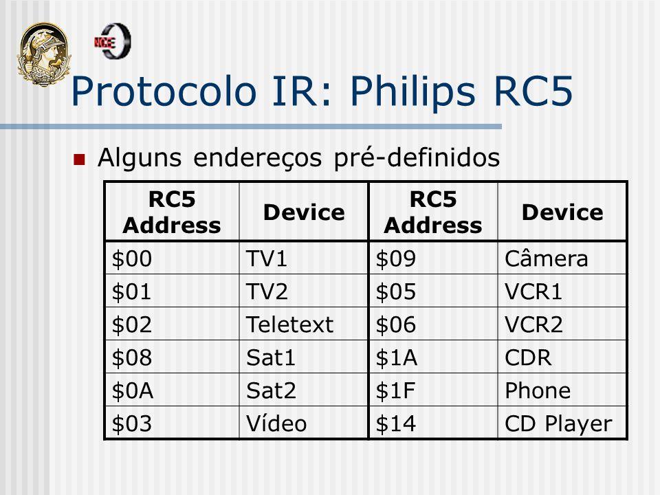 Protocolo IR: Philips RC5 Alguns endereços pré-definidos RC5 Address Device RC5 Address Device $00TV1$09Câmera $01TV2$05VCR1 $02Teletext$06VCR2 $08Sat