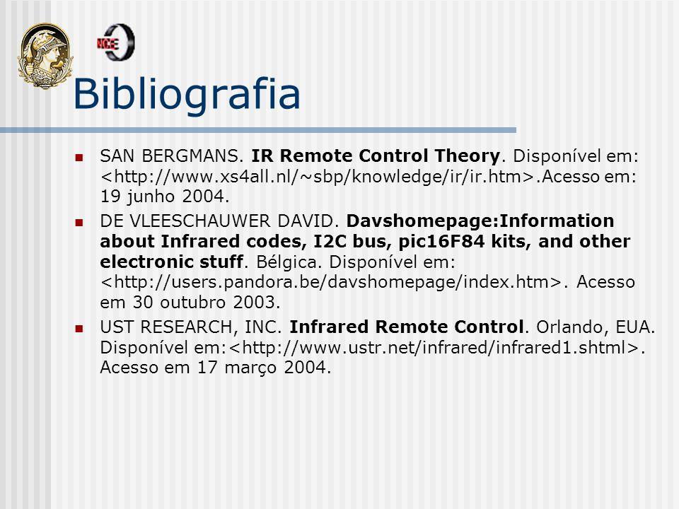 Bibliografia SAN BERGMANS. IR Remote Control Theory. Disponível em:.Acesso em: 19 junho 2004. DE VLEESCHAUWER DAVID. Davshomepage:Information about In