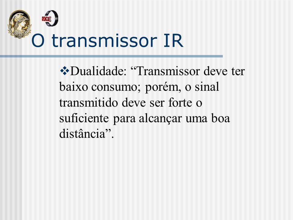 O transmissor IR: consumo Solução para baixo consumo : Chips dedicados (os mais antigos são dedicados a somente um protocolo) Microcontroladores de baixa potência Maior flexibilidade Solução mais adotada hoje em dia
