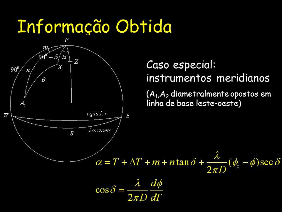 Informação Obtida Caso especial: instrumentos meridianos (A 1,A 2 diametralmente opostos em linha de base leste-oeste)