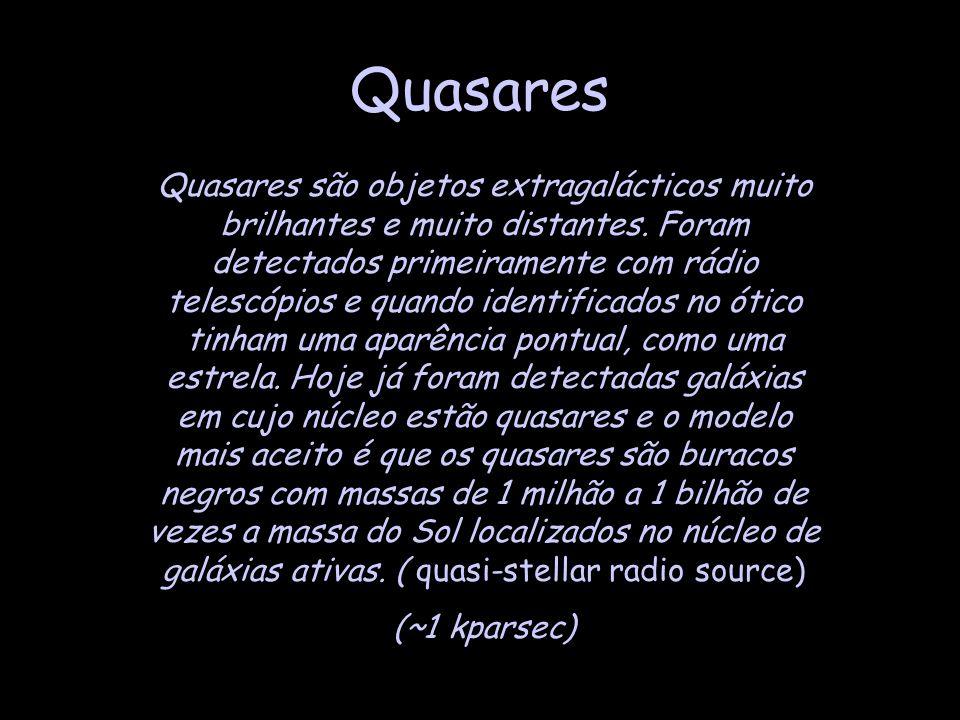 Quasares Quasares são objetos extragalácticos muito brilhantes e muito distantes. Foram detectados primeiramente com rádio telescópios e quando identi
