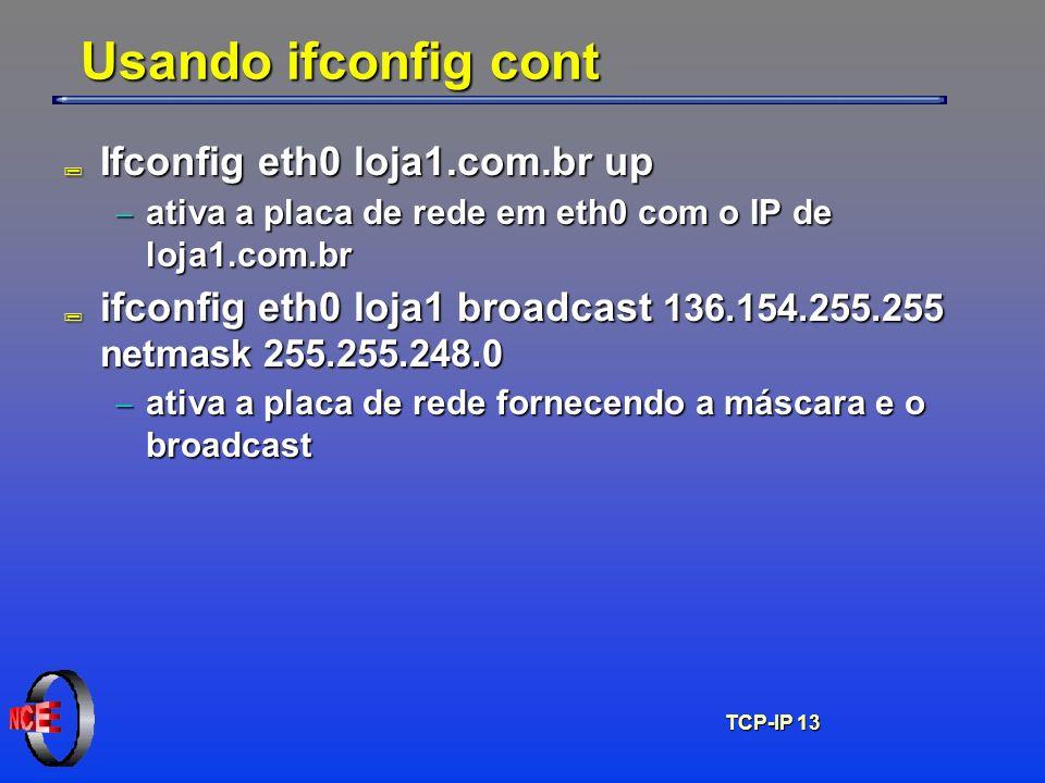 TCP-IP 13 Usando ifconfig cont ; Ifconfig eth0 loja1.com.br up ativa a placa de rede em eth0 com o IP de loja1.com.br ativa a placa de rede em eth0 co