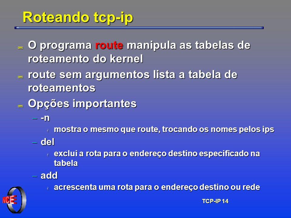 TCP-IP 14 Roteando tcp-ip ; O programa route manipula as tabelas de roteamento do kernel ; route sem argumentos lista a tabela de roteamentos ; Opções