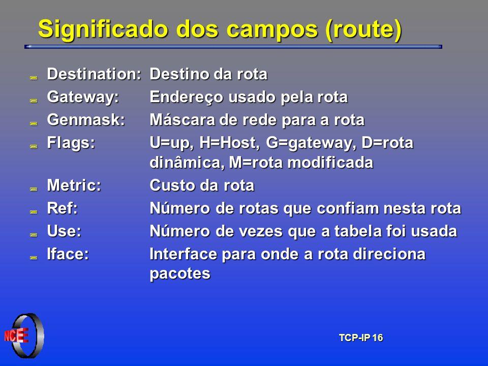 TCP-IP 16 Significado dos campos (route) ; Destination: Destino da rota ; Gateway: Endereço usado pela rota ; Genmask:Máscara de rede para a rota ; Fl