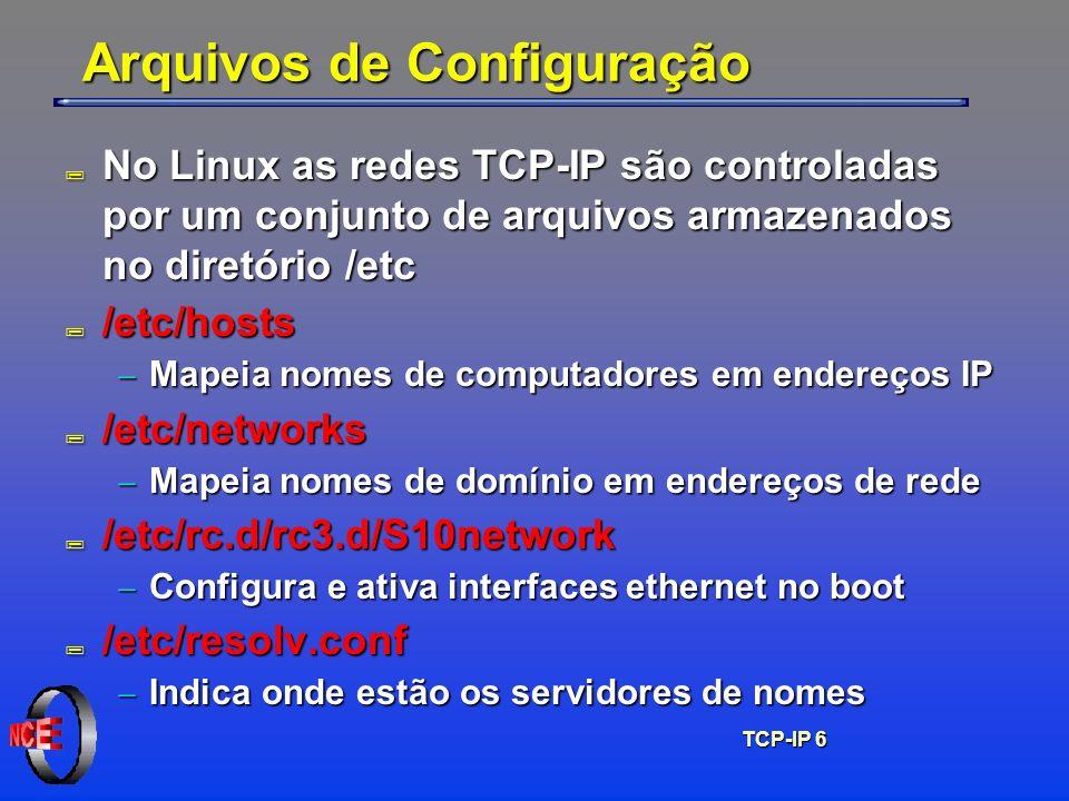 TCP-IP 7 /etc/hosts ; Contém IP, nome principal e nomes alternativos # /etc/hosts para computador neanderthal 127.0.0.1localhost.localdomain localhost neanderthal # # outros computadores 146.164.21.128comp1.matriz.com.br comp1 # # impressora na rede 146.164.22.212hpcor.matriz.com.br hpcor